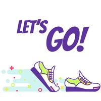 "Running sneakers. Lineart. Text ""Let's go!"" Vector Flat Illustration"