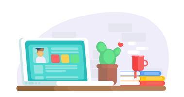 Banner di educazione online. Scrivania con computer portatile, cactus, caffè, utente finestra. Illustrazione piatta vettoriale