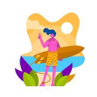 Flat Boy Holding Surfboard Enjoy Summer Vector Illustration
