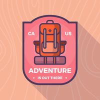 Flat Backpack Carrier Adventure Badge Vector Logo Template