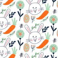Cute Easter Pattern With Bunny, Egg, Carrot And Floral Elements