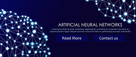 Banner de redes neuronales artificiales. Una forma de conexionismo ANNs. Sistemas informáticos inspirados en las redes neuronales biológicas. Ilustración vectorial