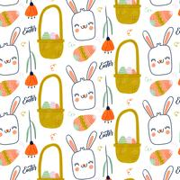 Cute Easter Pattern With Bunny Smiling, Flower And Eggs