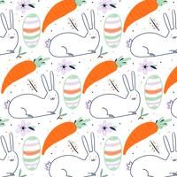 Easter Pattern With Bunny, Decorative Egg, Carrot And Flower