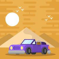 Flat Retro Car Vector Illustration