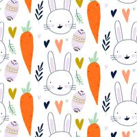 Easter Pattern With Heart, Bunny, Carrot, Leaves And Decorative Egg