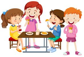 Ensemble d'enfants mangeant ensemble vecteur