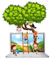 Barn klättrar träd på datorskärmen