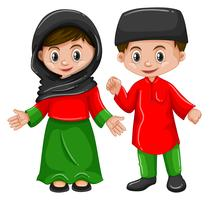 Afghanistan boy and girl in traditional costume
