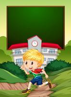 En sydafrikansk pojke på skolbannern
