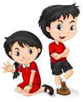 Caráter chinês das crianças no fundo branco
