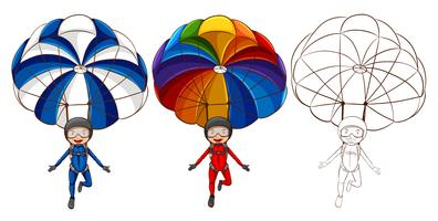 Three drawing styles of man parachute