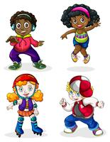 Black and Caucasian kids vector