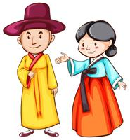 Desenho simples de dois povos asiáticos
