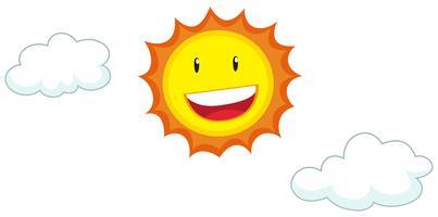 Faccia felice sul sole