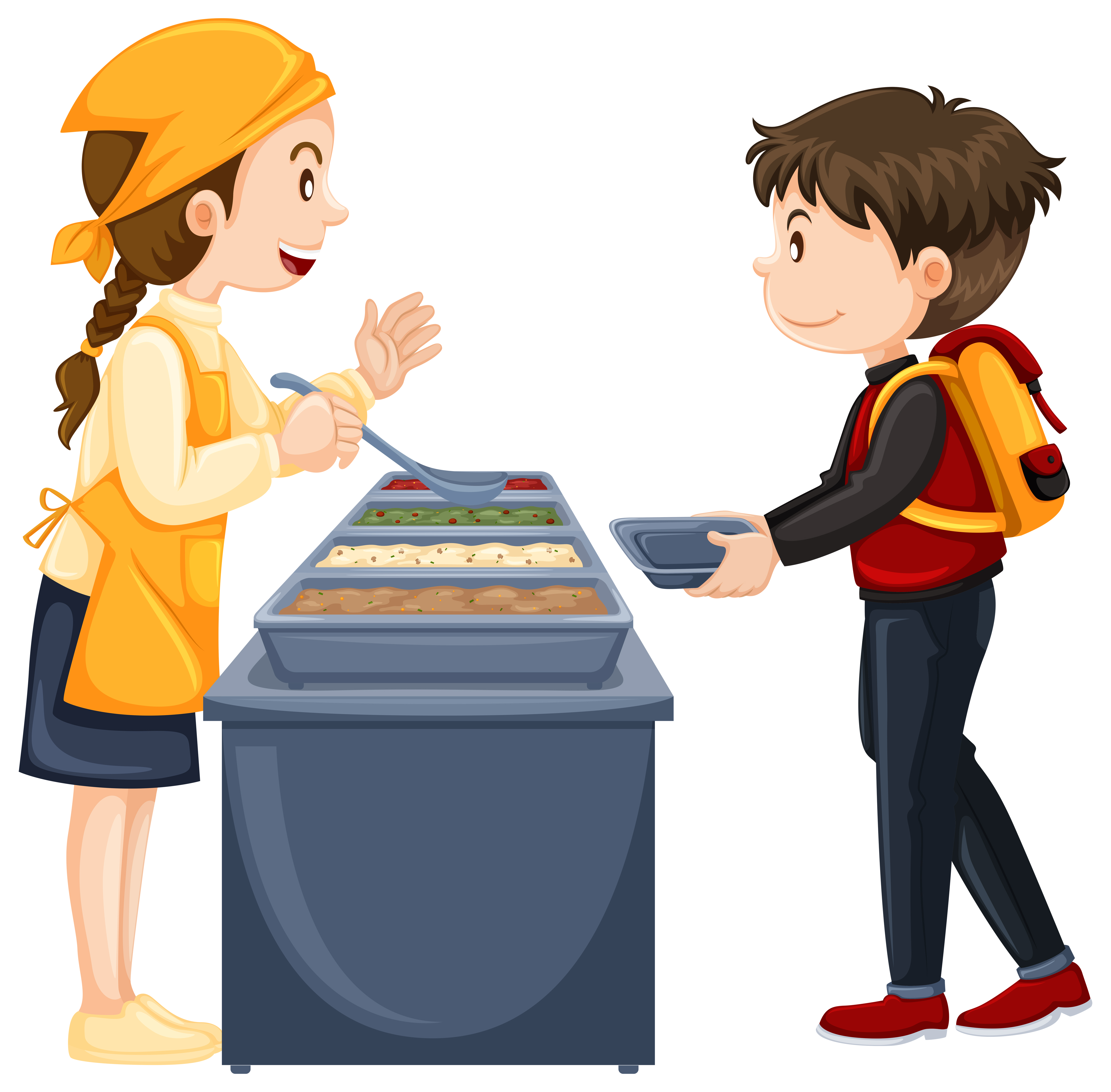 Boy Getting Food In The Canteen Download Free Vectors Clipart Graphics Vector Art