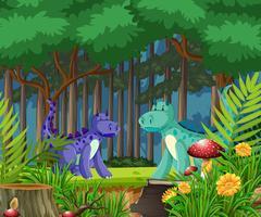 Dragão na floresta de conto de fadas