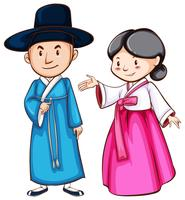 Um desenho simples de pessoas vestindo o traje asiático