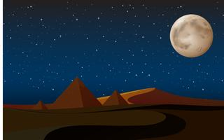 scena del deserto con le piramidi di notte