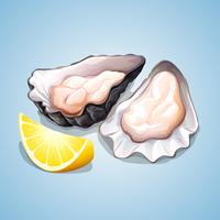 Oyster with a piece of lemon