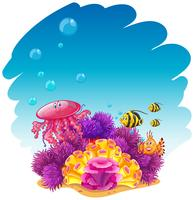 Underwater scene with jellyfish and corals