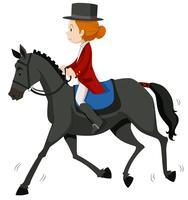 Jóquei feminino no cavalo cinza