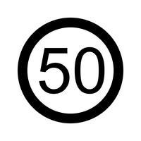 Vector Speed limit 50 Icon