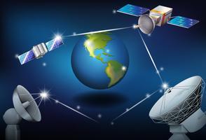 Satellites surrounding the planet Earth