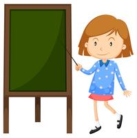 Little girl pointing at the board
