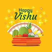 Frutas y verduras en una olla tradicional india para el Festival Vishu