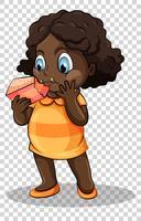 Chica comiendo pastel sobre fondo transparente