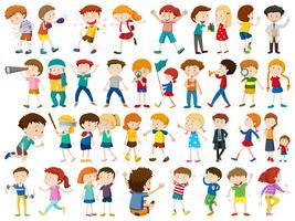 Conjunto de fundo branco de crianças