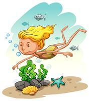 Girl enjoying underwater vector