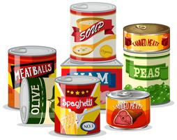 Set of tin food