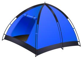 Blue camping tent on white
