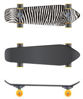 A top and side view of a skateboard
