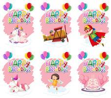 Conjunto de ícone de aniversário fofo