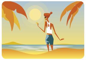 Women Enjoying Summer at Beach Vector