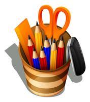 Un topview delle forniture scolastiche in un contenitore