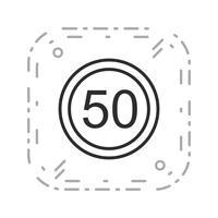 Icône de vecteur vitesse limite 50