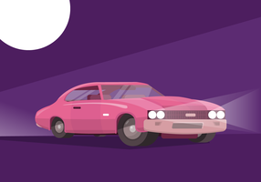 Classic Retro Car Flat Vector Illustration