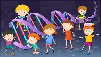 Children with DNA diagram