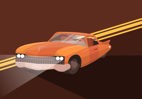 Classic Retro Muscle Car Flat Vector Illustration