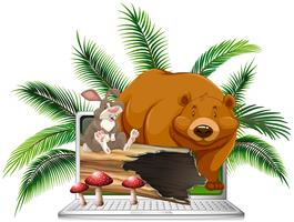 Wild bear and rabbit on computer screen