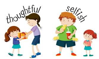 Engelska ordförråd ord omtänksamt och själviskt