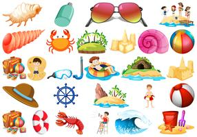 Set of beach elements vector