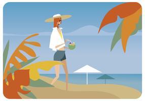 Sommer mit frischem Kokosnusswasser-Vektor