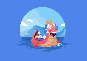 Rolig Dragon Boat Festival Vector Flat Illustration
