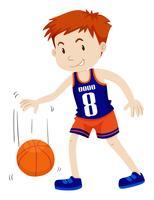 Hombre jugando baloncesto solo