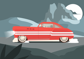 Retro Red Car in the Road at Night Vector Illustration